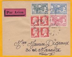 1927 - Enveloppe De Rouen à Paris   - Affranchissement Bloc De 4 Pasteur  - 3 Vignettes Meeting Aérien De Rouen - France