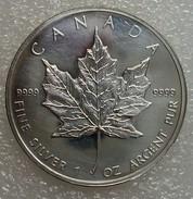 Zilveren 1 Oz Bullion Munt, Canada Maple Leaf, 2010, In Capsule, Lichte Krasjes - Canada