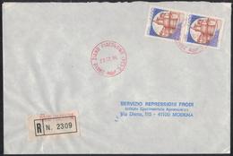 TI258      Storia Postale 1986 Castelli Su Busta Raccomandata Zaino Piacentino - 1946-.. République