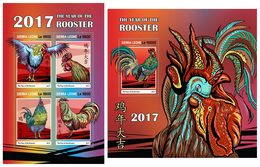 SIERRA LEONE 2017 - Year Of The Rooster. M/S + S/S Official Issue. - Astrologia