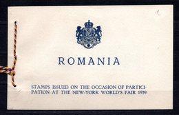 1939 ROMANIA NEW YORK WORLD'S FAIR MICHEL: 594-595 BOOKLET - Carnets