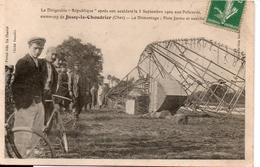 """Le Dirigeable """" République """" Apprés Son Accident Le 3 Septembre 1909aoux Policards Commune De Jussy- Le - Chaudrier - Dirigeables"""