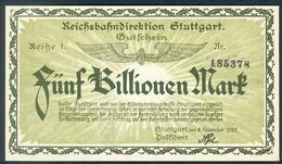 Deutschland, Germany, Reichsbahndirektion Stuttgart - 5 Billion Mark, 1923 ! - 1918-1933: Weimarer Republik