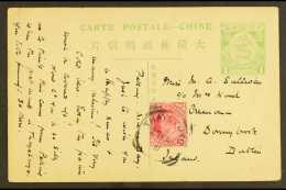 1911 (27 Feb) China 1c Postal Card To Ireland Bearing KEVII 1a Red, Tied By THAYETMYO Squared Circle Cancel.... - Burma (...-1947)