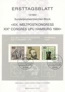 BRD / First Day Sheet (1984/13) 5300 Bonn 1: XIX. Universal Postal Union UPU Congress 1984 Hamburg; Heinrich Von Stephan - UPU (Union Postale Universelle)