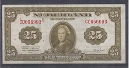Nederland Muntbiljet  25 Gulden -  4 Februari 1943  Zeer Fraaie Staat - [2] 1815-… : Kingdom Of The Netherlands