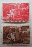 URSS 1947 - 2 Timbres - Restructuration Economique - Usine De Tracteurs Kharkov - 1923-1991 URSS