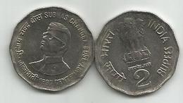 India 2 Rupees 1997. KM#130 Subhas Chandra Bose - India