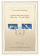 BRD / First Day Sheet (1985/05) 5300 Bonn 1: Bowling - 100 Years Of German Bowler Federation; Canoe World Championships