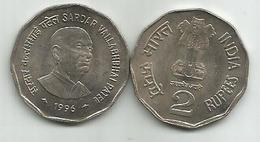 India 2 Rupees 1996. KM#129 Sardar Vallabhbhai Patel - India