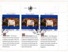 58 - NAZIONI UNITE ONU 1989 , Unificato Serie N. 563/564  Usata . Trittici - Oblitérés