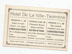 Cp, Publicité , HOTEL DE LA VILLE , TAORMINA , Sicile , Italie , Restaurant , Ristorante , S. Scimone , 2 Scans - Publicité