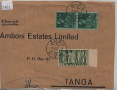 1953 Briefstück 218w/330w - Stempel: Zug Nach Tanga - Schweiz
