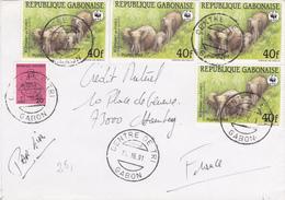 Lettre De  GABON  Vers FRANCE 1991  ELEPHANTS - Gabun (1960-...)