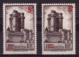 """1940 - Surcharge Décalée (""""1"""" Non Surchargé Et """"F"""" Hors Cadre) - N° 491 - Neufs (*) - Donjon De Vincennes - Errors & Oddities"""