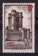 """1940 - Surcharge Décalée (""""1"""" Non Surchargé Et """"F"""" Hors Cadre) - N° 491 - Neuf (*) - Donjon De Vincennes"""
