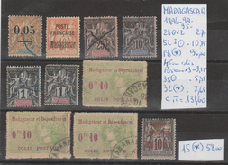 LOT DE TIMBRES DE France Madagascar (1889-OBLITEREES (*)  NR VOIR SUR PAPIER AVEC LES TIMBRES COTE 189.60e - Madagascar (1889-1960)