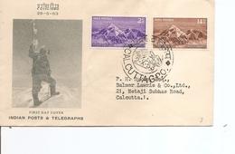 Géologie -Montagnes -Everest ( FDC De L'Inde De 1953 Voyagé à Voir) - Geology