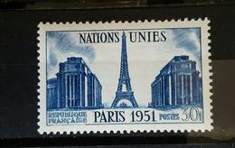 YT 912 - Nations Unis Paris 1951 Tour Eiffel  Bleu - Neuf - Frankrijk
