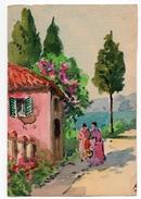 PAYSAGE   AQUARELLE  REALISEE DIRECTEMENT SUR CARTE POSTALE ANCIENNE  NON SIGNEE 1936 - Watercolours