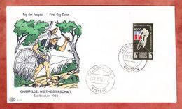 FDC, Querfelde Weltmeisterschaft Radfahren, Plattenfehler VII?, Erstausgabestempel Saarbruecken 1955 (37074) - FDC