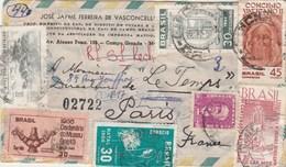 Brésil Lettre Recommandée Avion 1967  Pour Paris France - Timbres Et Cachets Au Verso - Lettres & Documents