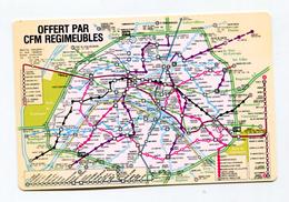 """Plan De Métro De Paris De Poche + Calendrier 1984 """"offert Par CFM Régimeubles - Club Français Du Meuble"""""""" - Titres De Transport"""