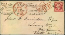 """1860, 80 C. Imperf. Napoleon On Transatlantic Letter """"""""Par Steamer Pr. Les Etats-Unis"""""""" With Boxed """"""""Fr. Service"""""""" And """" - 1853-1860 Napoléon III"""