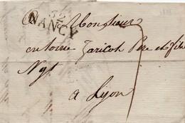 LETTRE AVEC CORRESPONDANCE De 1813 Marquage Linéaire - De Nancy à Lyon - Storia Postale