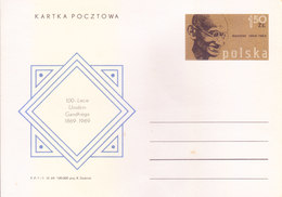 POLAND 1969 OFFICIAL SPECIAL POST CARD  - MAHATMA GANDHI - 1944-.... Republic