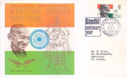 GREAT BRITAIN FIRST DAY COVER 13-08-1969 - MAHATMA GANDHI CENTENARY YEAR, INDIAN FLAG, LORD VISHNU - 1952-.... (Elizabeth II)