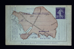 France Carte Lettre Pneu Sameuse 1910  Type K7  Marseill  11 Villes - Rohrpost