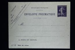 France Enveloppe  Pneu Sameuse  Type K17    1911 - Postwaardestukken