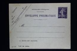 France  Enveloppe Pneu Sameuse  30 C. Type K15    1907 - Entiers Postaux