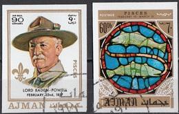 780 Ajman 1971 Lord Baden Powell - Zodiaco Pesci - Glass Window Vetrata Notre Dame - Astrologia