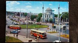 CPSM TROLLEYBUS TURQUIE ISTANBUL PLACE D AKSARAV ET MOSQUEE DE VALIDE - Cartoline