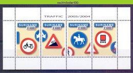 Nds1281 *SPECIAL* TRANSPORT PAARD BROMMER HORSE MOTORBIKE TRUCK TRAFFIC SIGNS VERKEHRSZEICHEN SURINAME 2004 PF/MNH # - Transports