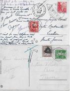 NACHPORTO → Zwei Ansichtskarten Mit Französischem Strafporto Anno 1911/1949 - Portomarken