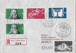 1948  100 JAHRE SCHW. BUNDESSTAAT → R-Brief Mit Seltener Werbe-Vignette Räthische Bahn 1948 - Suisse