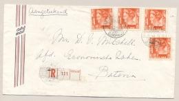 Nederlands Indië - 1949 - 4x 10 Cent Wilhelmina Type Kreisler Op R-cover Van LB SOERABAJA-SIMPANG Naar Batavia - Netherlands Indies