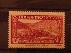 Andorra 1932-43 20F Carmine MNH SG F79 Mi 47 - Andorre Français
