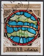 780 Ajman 1971 Segni Zodiaco Pesci - Stained Glass Window Vetrata Notre Dame Imperf. Zodiac - Vetri & Vetrate