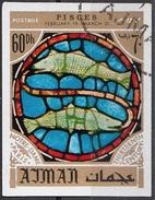 780 Ajman 1971 Segni Zodiaco Pesci - Stained Glass Window Vetrata Notre Dame Imperf. Zodiac - Astrologia