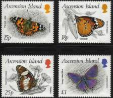 ASCENSION ISLAND: Papillons (yvert N° 433/36) Neuf Sans Charniere. (MNH) - Schmetterlinge