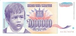 YOUGOSLAVIE   1,000,000 Dinara   1993   P. 120   UNC - Yougoslavie