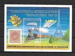 Sao Tome 1978 UPU - Train - Zeppelin MS MNH (DMS01) - U.P.U.