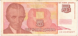 YOUGOSLAVIE   5 Novih Dinara   1/1/1994   P. 146 - Yougoslavie