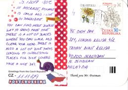 20J : Czech Republic Stamp Used On Cat, Fish Cartoon Postcard - Brieven En Documenten