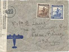 Lettre Ouverte Par Le Contrôle Des Communications Du Congo Belge Vers Wasmes/Colfontaine (1945)