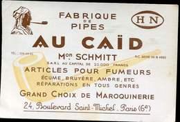 Encart Publicitaire 12x8 Cm Pour Fabrique De Pipes Au Caid Paris Articles Pour Fumeurs - Libros